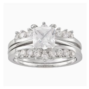 Sterling Silver Cubic Zircon Engagement Ring Set
